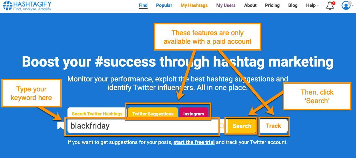 Hashtagify free online tool