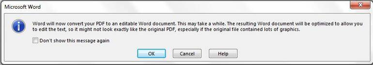 Open the scanned document in Word.